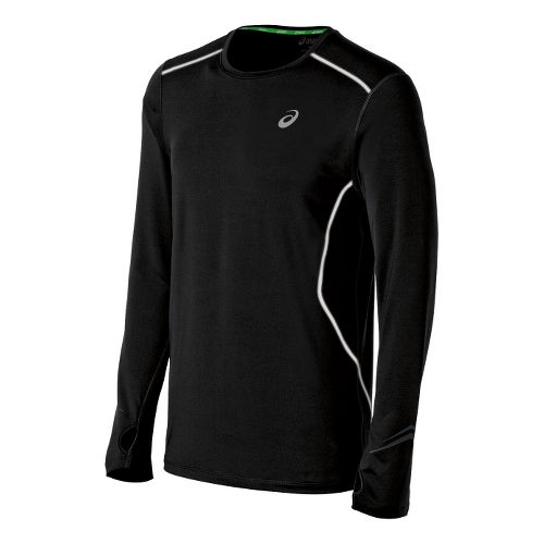 Mens ASICS Lite-Show Favorite Long Sleeve No Zip Technical Tops - Black XL