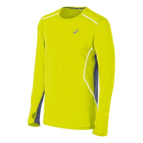 Mens ASICS Lite-Show Favorite Long Sleeve No Zip Technical Tops - Electric Lime S