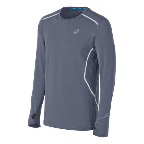 Mens ASICS Lite-Show Favorite Long Sleeve No Zip Technical Tops - Slate S