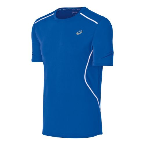 Mens ASICS Lite-Show Favorite Short Sleeve Technical Tops - Blue M
