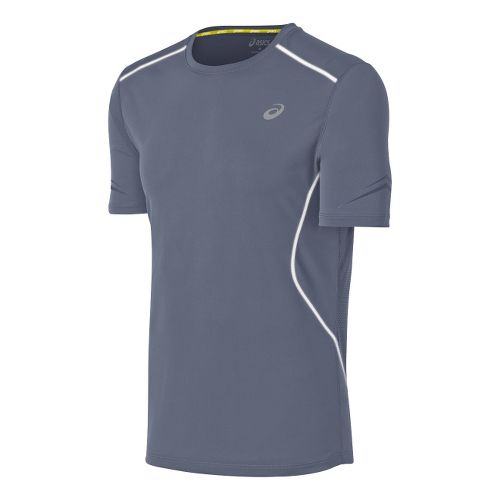 Mens ASICS Lite-Show Favorite Short Sleeve Technical Tops - Slate M