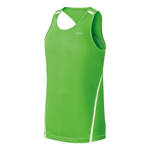 Mens ASICS Lite Show Favorite Singlets Technical Tops - Green M