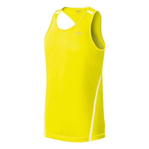Mens ASICS Lite Show Favorite Singlets Technical Tops - Neon Yellow L