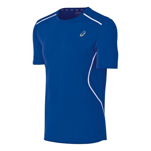 Mens ASICS Lite Show Favorite Short Sleeve Technical Tops - Cobalt L