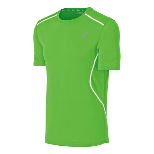 Mens ASICS Lite Show Favorite Short Sleeve Technical Tops - Green XL