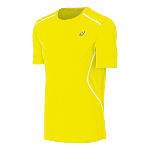 Mens ASICS Lite Show Favorite Short Sleeve Technical Tops - Neon Yellow L
