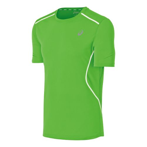 Mens ASICS Lite Show Favorite Short Sleeve Technical Tops - Green XXL