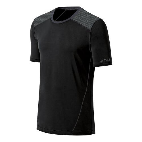 Mens ASICS PR Lyte Short Sleeve Technical Tops - Black/Steel Print M