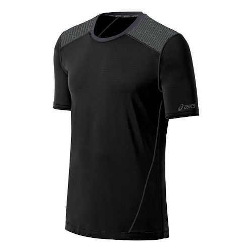 Mens ASICS PR Lyte Short Sleeve Technical Tops - Black/Steel Print XL