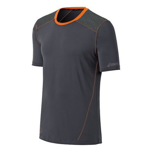 Mens ASICS PR Lyte Short Sleeve Technical Tops - Steel/Orange XXL