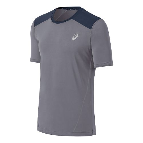 Mens ASICS PR Lyte Short Sleeve Technical Tops - Frost/Dark Cobalt XXL