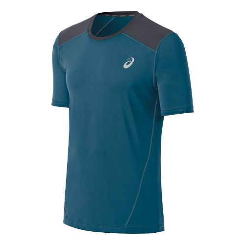 Mens ASICS PR Lyte Short Sleeve Technical Tops - Mosaic Blue/Steel L