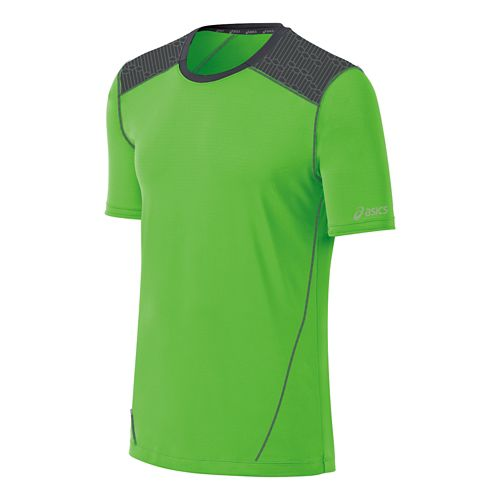 Mens ASICS PR Lyte Short Sleeve Technical Tops - Green/Steel L