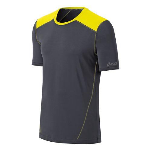Mens ASICS PR Lyte Short Sleeve Technical Tops - Steel/Neon Yellow XL