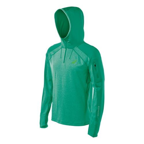 Mens ASICS Hooded Long Sleeve No Zip Technical Tops - Jungle Green Heather M