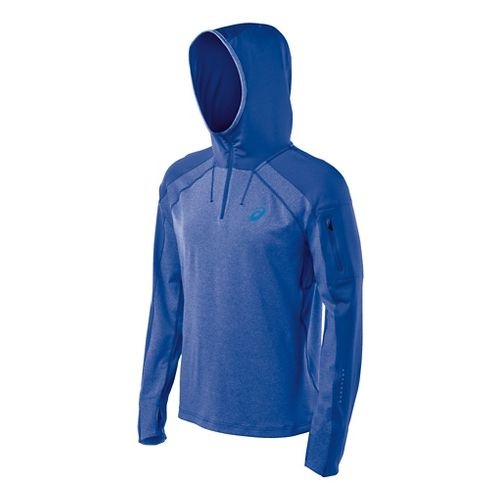Mens ASICS Hooded Long Sleeve No Zip Technical Tops - Blue Heather L