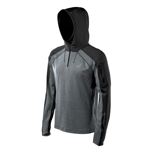 Mens ASICS Hooded Long Sleeve No Zip Technical Tops - Black Heather S