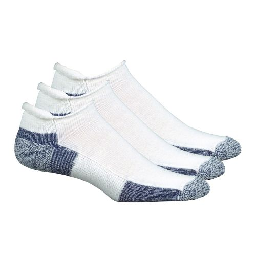 Thorlo Running No Show Roll Top 3 pack Socks - White/Navy L