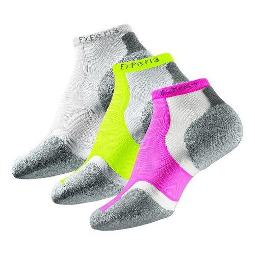 Thorlo Experia Micro Mini-Crew 3 pack Socks - Pink/Yellow/White L