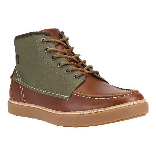 Mens Timberland EK Hudston Fabric and Leather Casual Shoe - Red Brown 8