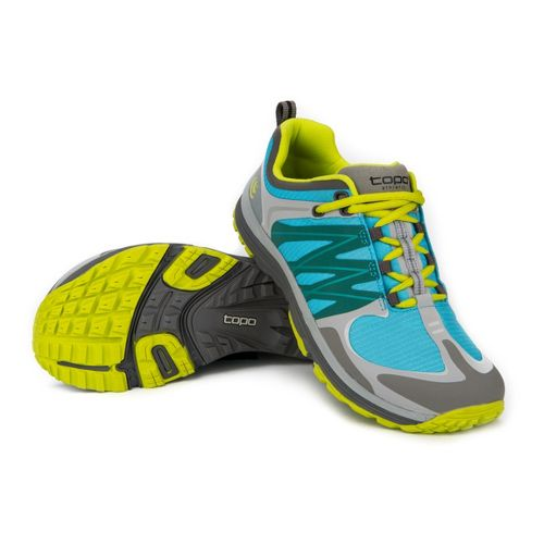 Womens Topo Athletic W-MT Trail Running Shoe - Turquoise/Citrus 7.5