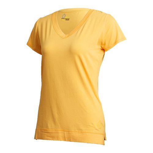 Womens Tasc Performance Streets V Short Sleeve Technical Tops - Apricot L