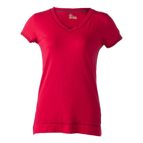 Womens Tasc Performance Streets V Short Sleeve Technical Tops - Cherry Pie S
