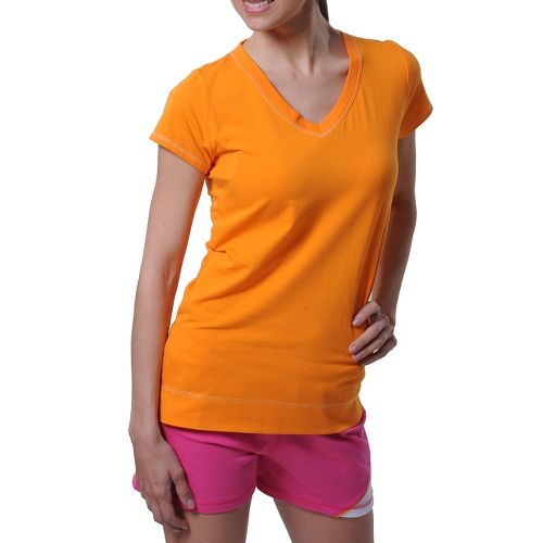 Womens Tasc Performance Streets V Short Sleeve Technical Tops - Tangerine L