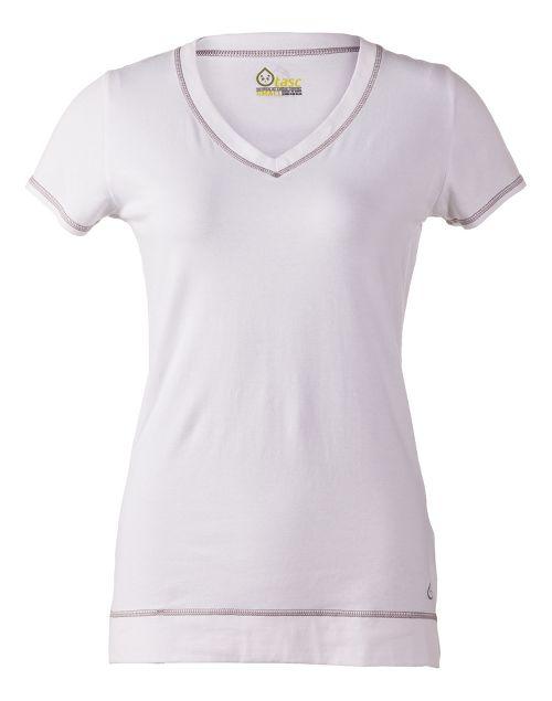 Womens Tasc Performance Streets V Short Sleeve Technical Tops - White L