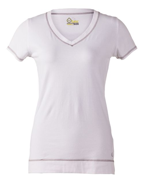 Womens Tasc Performance Streets V Short Sleeve Technical Tops - White XS