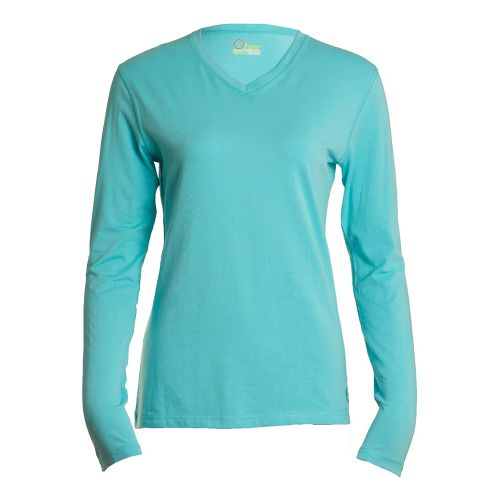 Womens Tasc Performance Core V-Neck Long Sleeve No Zip Technical Tops - Caribbean Sea M ...