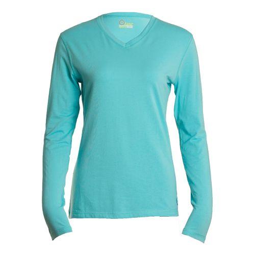 Womens Tasc Performance Core V-Neck Long Sleeve No Zip Technical Tops - Caribbean Sea S ...