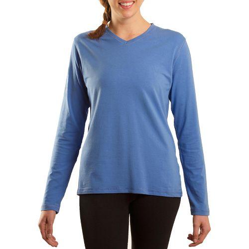 Womens Tasc Performance Core V-Neck Long Sleeve No Zip Technical Tops - Denim S