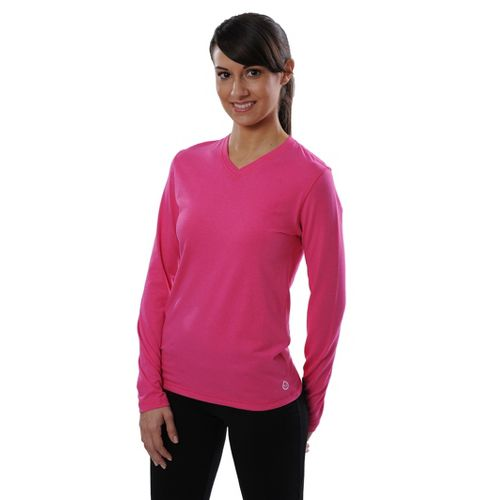 Womens Tasc Performance Core V-Neck Long Sleeve No Zip Technical Tops - Dragonfruit M
