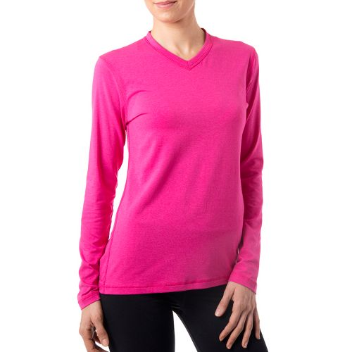 Womens Tasc Performance Core V-Neck Long Sleeve No Zip Technical Tops - Fruit Punch S ...