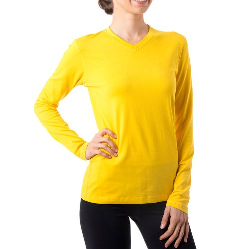 Womens Tasc Performance Core V-Neck Long Sleeve No Zip Technical Tops - Honey Lemon S ...