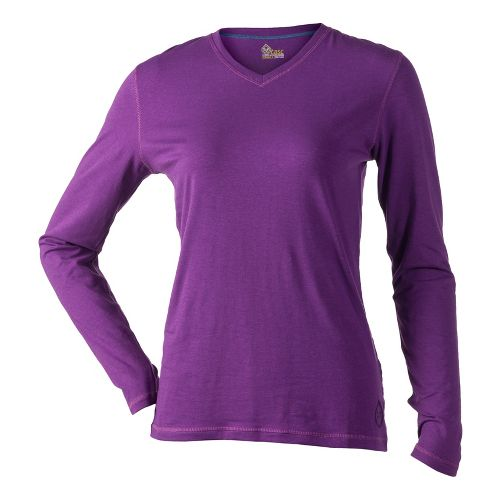 Womens Tasc Performance Core V-Neck Long Sleeve No Zip Technical Tops - Mardi Gras M ...