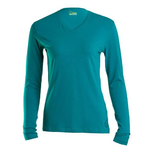Womens Tasc Performance Core V-Neck Long Sleeve No Zip Technical Tops - Peacock M