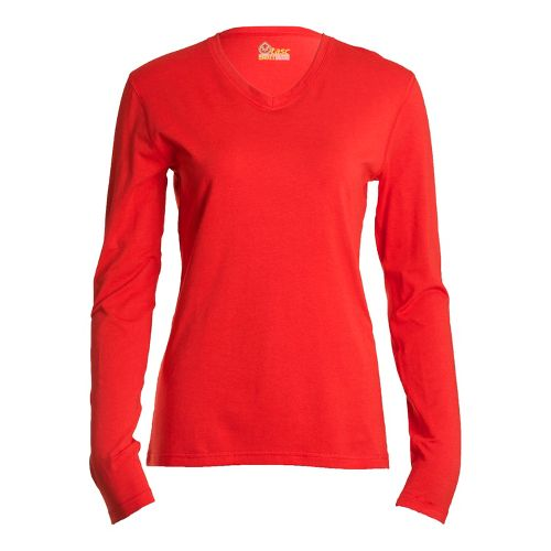 Womens Tasc Performance Core V-Neck Long Sleeve No Zip Technical Tops - Persimmon L