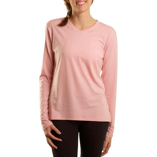 Womens Tasc Performance Core V-Neck Long Sleeve No Zip Technical Tops - Petal Pink XL ...