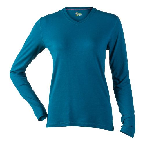Womens Tasc Performance Core V-Neck Long Sleeve No Zip Technical Tops - Seaport M