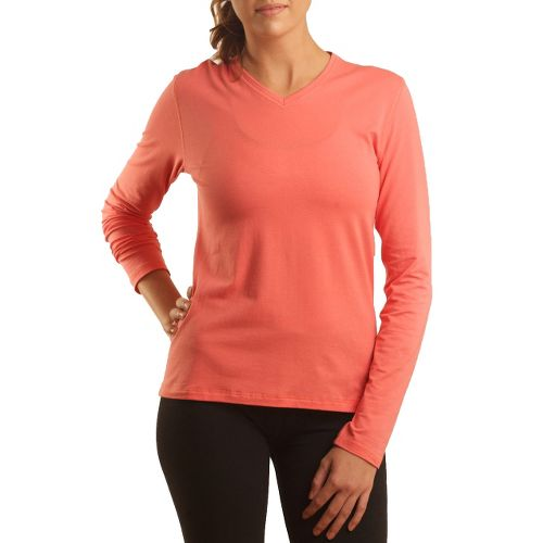 Womens Tasc Performance Core V-Neck Long Sleeve No Zip Technical Tops - Shrimp XS