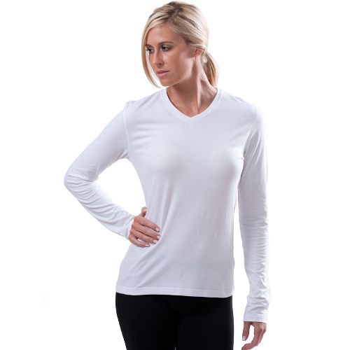 Womens Tasc Performance Core V-Neck Long Sleeve No Zip Technical Tops - White XS