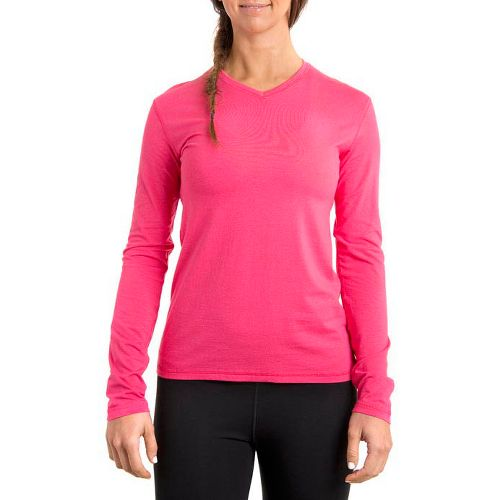 Womens Tasc Performance Core V-Neck Long Sleeve No Zip Technical Tops - Watermelon S