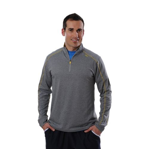 Mens Tasc Performance Core 1/4-Zip Long Sleeve Technical Tops - Heather Grey/Yellowfin XL