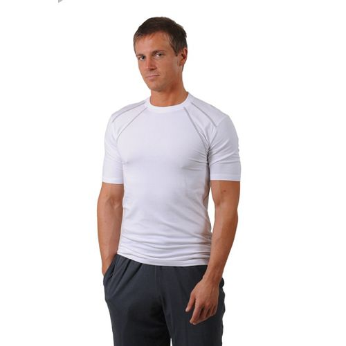 Mens Tasc Performance Hybrid Fitted Crew Short Sleeve Technical Tops - White XL