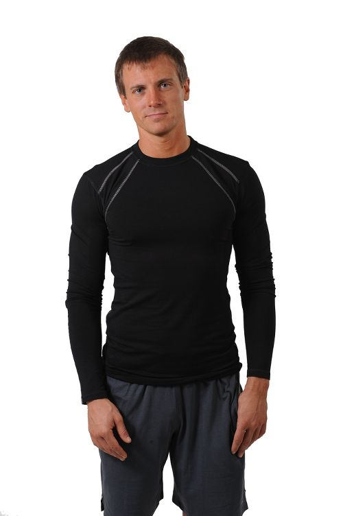Mens Tasc Performance Hybrid Fitted Crew Long Sleeve Technical Tops - Black XL