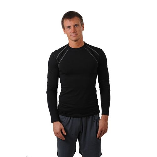 Mens Tasc Performance Hybrid Fitted Crew Long Sleeve No Zip Technical Tops - Black L ...