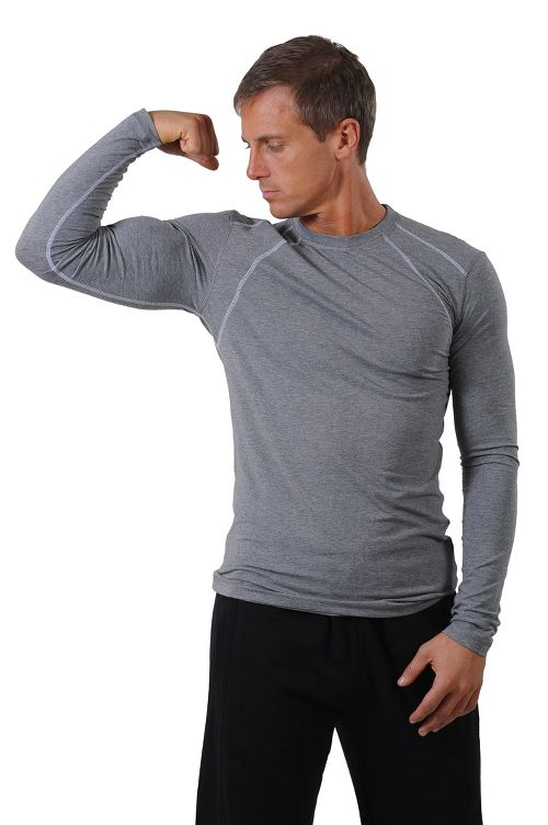 Mens Tasc Performance Hybrid Fitted Crew Long Sleeve Technical Tops - Heather Grey S