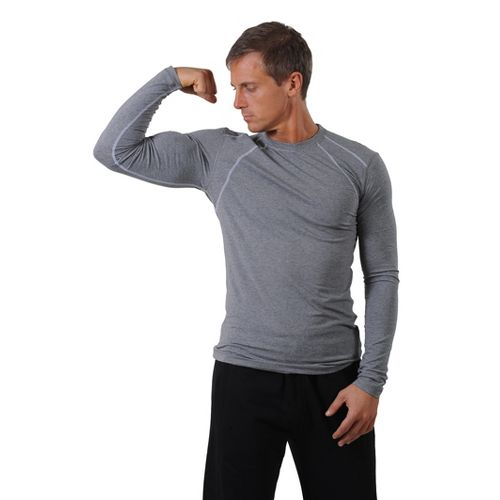 Mens tasc Performance Hybrid Fitted LS Crew Long Sleeve No Zip Technical Tops - Heather ...